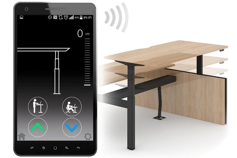Bedien uw elektrisch zit-sta bureau via een app